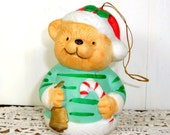 Vintage Christmas Bear Bell Ornament, Chimer, Bisque Ceramic, Holiday Decor, Santa's Hat (732-13)