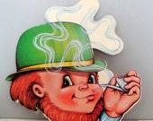 Vintage Irish Leprechaun Die Cut, St. Patrick's Day Decoration, Beistle Company, Holiday Wall Decor, Paper Ephemera, Green, Kitsch  (243-14)