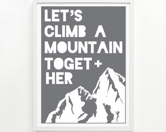 Mountain Print Art, Mountain Range Wall Art, Hiking Art Print, Climber Gift - Mountain Screenprint Poster 12 x 16: