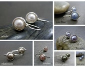 Small Pearl Drop Earrings, Petite Swarovski Pearl Drops, White Pearls, Argentium Silver, Wire Wrapped, CHOOSE YOUR COLOUR