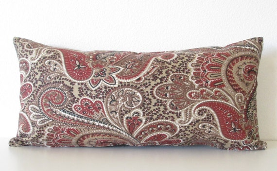 Cocoa And Cranberry Paisley Decorative Lumbar Pillow Cover