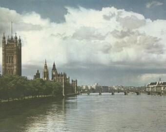River Thames, Westminster, London, Plate 39, English Heritage, England Photograph, Vintage Print, 1957