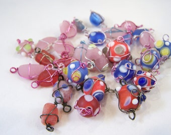FREE SHIPPING - 29 pcs Wire Wrapped Lampwork Glass Beads (#1912)