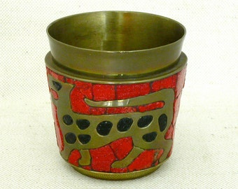 Salvador Teran Brass and Mosaic Tumbler from Mexico