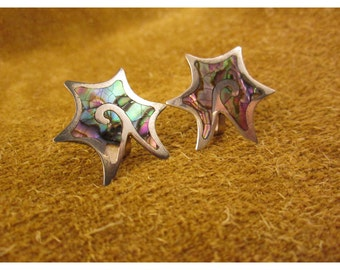 Mod Star Abalone Inlay Sterling Silver Screw Back Earrings – Non Pierced Earrings - Vintage Mexico Jewelry