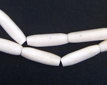 25 Kenya Bone Beads - Elongated White Batik Bone Beads - African Beads - Jewelry Making Supplies - Made in Kenya ** (BON-TUB-WHT-263)