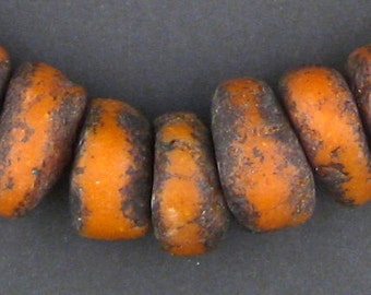 30 Vintage Coral Moroccan Amber Resin Beads Petite - African Resin Beads - Jewelry Making Supplies - Made in Morocco ** (RES-RND-ORG-108)