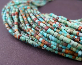 185 Tiny Turquoise Heishi Beads - Gemstone Beads - Turquoise Beads - Jewelry Making Supplies - Made in Afghanistan ** (TRQ-HSHI-120)