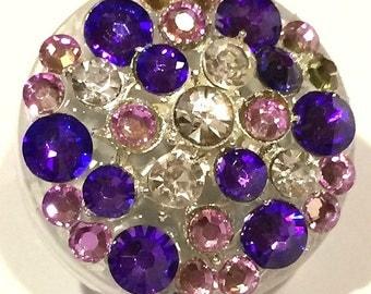 Brilliant Bright Purple Swarovski Crystal Embellished Swivel-Back ID Badge Reel