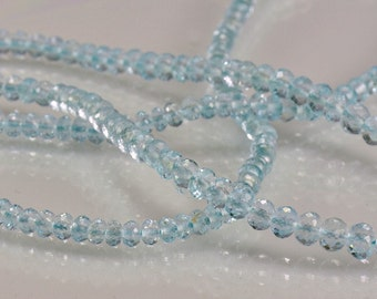Sale -Blue Topaz Rondelles AAA Micro Faceted