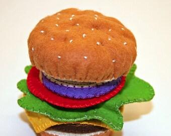 Cheeseburger - Wool Felt Play Food - Handmade