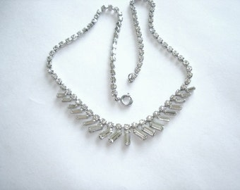 Signed David Clear Rhinestone Pearl  Necklace