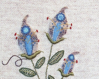 Jacobean Flower Wool Applique, Hand Embroidery / Pattern / Jac 026