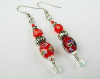 Red Beaded Floral Fashion Dangle Earrings