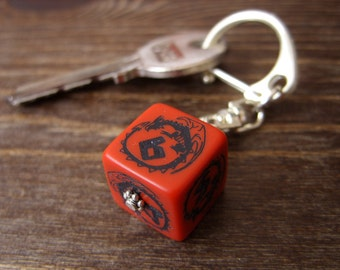D6 Dragon keychain die dungeons and dragons fantasy dice key chain geek rpg tabletop gamer red geekery D6 dice