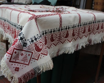 Ethnic Woven Tablecloth 4 Napkins Set Birds Ukraine VINTAGE by Plantdreaming