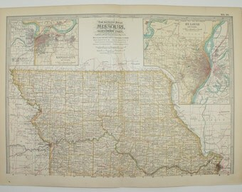 Northern Missouri Map 1902 Original Vintage Map, Midwest State County Map, Travel Map, Housewarming Gift Under 20, Vintage Decor Gift
