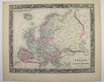 Antique Map of Europe 1860 Mitchell Map, Unique Wedding Gift for Couple, 1st Anniversary Gift, Old World Wall Map, Office Decor Art Gift