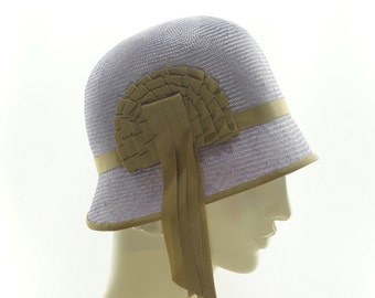 Lavender Straw CLOCHE HAT for Women / 1920's Style Straw Hat / Downton Abbey / Handmade by Marcia Lacher Millinery