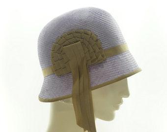 Lavender STRAW Hat - Vintage Style Cloche Hat - Women's Wedding Hat - Vintage Style Hat  - 1920s Hats - Flapper Hat - Hats for Women