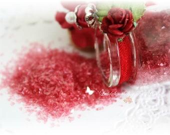 Glitter Glass Bottles .5 Ounces, Hand Tinted Diamond Dust, German Glitter, Scarlett Red