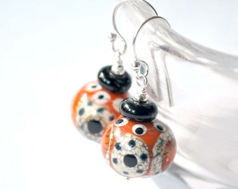 Orange Polka Dot Lampwork Glass Earrings, Cream, Black Artisan Glass Bead Dangle Earrings