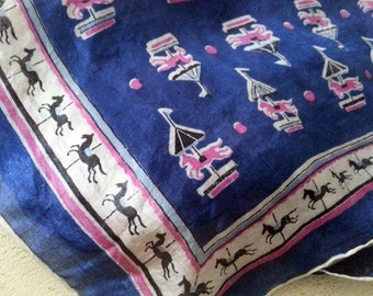 Vintage Silk Scarf With Horses Carousel Print