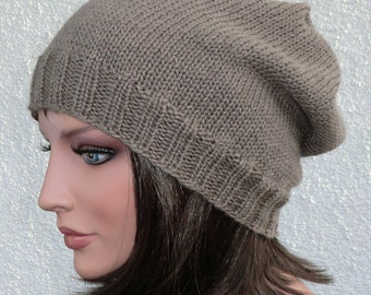 Hand Knit Beanie, Color Nut-Brown, One Size, 100 % Merino wool