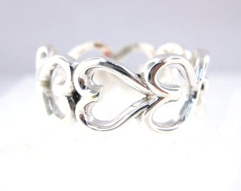 Infinity Heart Ring- Sterling Silver  High Quality, High Polish Ring size 7-9