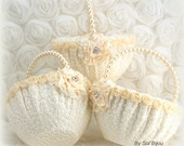 Flower Girl Basket, Wedding, Ivory, White, Cream, Round, Lace, Crystals, Pearls, Vintage, Elegant, Gatsby Wedding