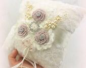 Ring Bearer Pillow, Ivory, Cream, Rose, Pink, Blush, Bridal, Wedding, Lace, Pearls, Crystals, Vintage Inspired, Gatsby, Elegant Wedding