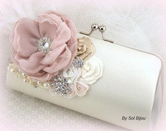 Bridal Clutch, Ivory, Tan, Beige, Blush, Champagne, Handbag, Purse, Wedding, Mother of the Bride, Pearls, Crystals, Ostrich Feathers, Brooch