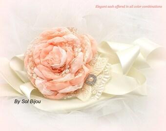 Peach Sash, Ivory, Cream, Coral, Bridal, Wedding, Maid of Honor,  Chiffon, Lace, Pearls, Crystals, Vintage, Elegant Wedding