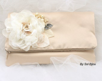 Clutch, Handbag, Bag, Bridal, Wedding, Maid of Honor, Bridesmaids, Satin, Rectangular, Champagne, Ivory, Pearls, Lace, Vintage Wedding