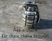 Add a charm hand Grenade bomb to Bracelet  keyring Charm Great for EOD charm