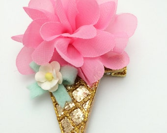 Candy pink glitter ice cream cone hair clip or headband