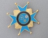 Aqua-Blue and Black Steampunk-Fantasy Military medal