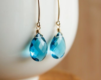 Gold London Blue Quartz Gemstone Earrings - 14K GF - Hook Earrings