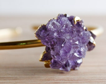 Gold Purple Amethyst Rose Bangles - Bohemian Gypsy Jewelry - Choose Your Stone
