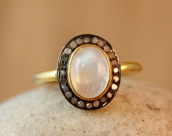 50% OFF Gold Rainbow Moonstone Ring - Pave Diamond Setting - Oval Stone Ring