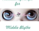 Middie Blythe New Soft Resin OOAK REALISTIC custom eye chips set C7 , by Ana Karina. UV laminated