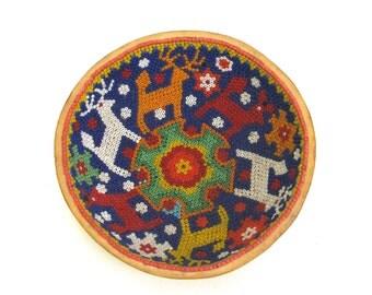 wonderful vintage mexican gourd  ...   oaxaca folk art  ...  hand beaded gourd