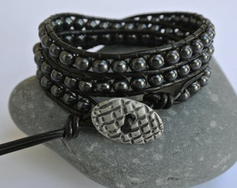 Besa Hematite Beaded Black Leather Wrap Bracelet