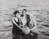 Vintage Black and White 1930s Antique Photo Snapshot of Fun Swimsuit Friends in Summer Lake at Beach Vacation Summer Relaxing in Water