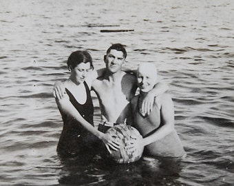 Vintage Photo of Swimsuit Friends in Summer Lake with Ball Black and White 1930s at Beach Vacation Summer Relaxing in Water
