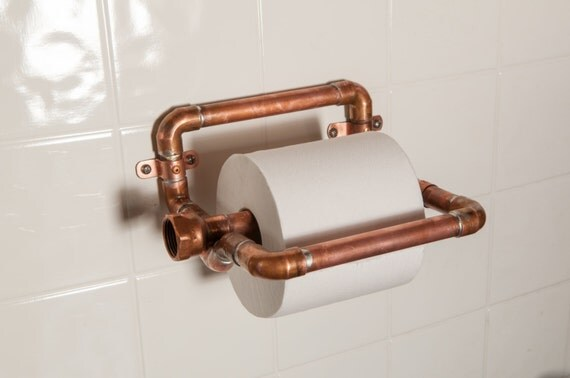 Items Similar To Industrial Copper Toilet Paper Holder On Etsy