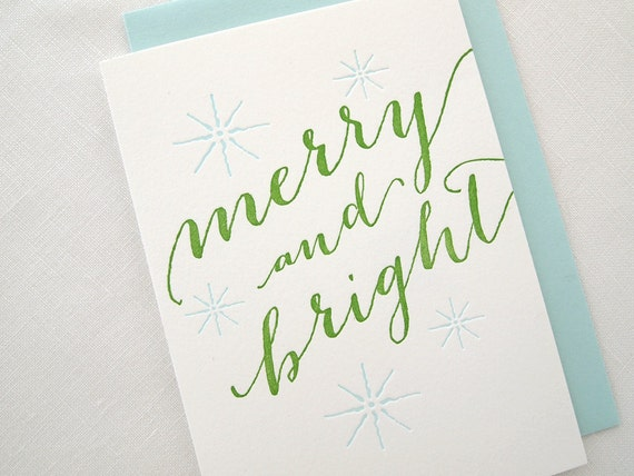 SALE Merry and Bright Letterpress Holiday Card - Box of 6