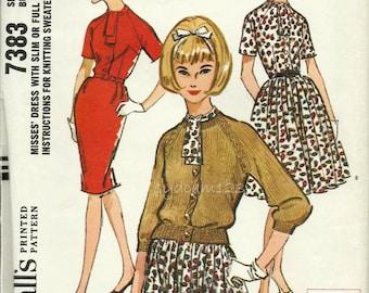Vintage Pattern 60s Raglan Sleeve Shirtwaist Dress Tie Collar Slim or Full Skirt Knitted Cardigan 1964 McCalls 7383 Bust 32