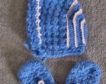 3-6 Month Baby Hat and Mittens, Boy, Crocheted Bonnet and Mitts, Baby Shower Gift
