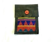 Upcycled Leather Belt Pouch with Aguayo Fabric